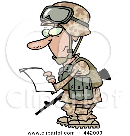 ... Art Illustration of a Cartoon Soldier Reading A Letter by Ron Leishman: www.clipartof.com/portfolio/toonaday/illustration/cartoon-soldier...