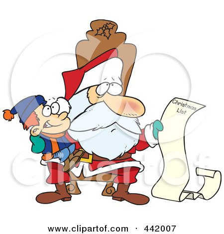Royalty-Free (RF) Clip Art Illustration of a Cartoon Santa Reading A Boy's Long Christmas List by toonaday