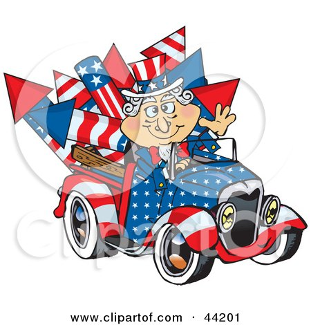 American Uncle Sam Driving A Ute With Rockets In The Back Posters, Art Prints