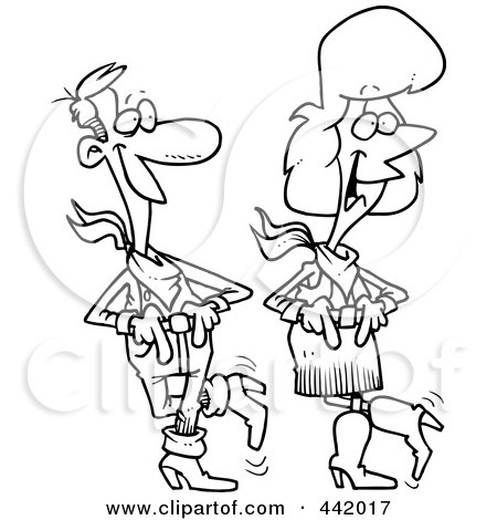 Royalty-Free (RF) Clip Art Illustration of a Cartoon Black And White Outline Design Of A Couple Line Dancing by toonaday