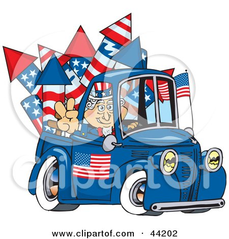 Clipart Illustration of an American Uncle Sam Driving A Truck With Fireworks In The Bed by Dennis Holmes Designs