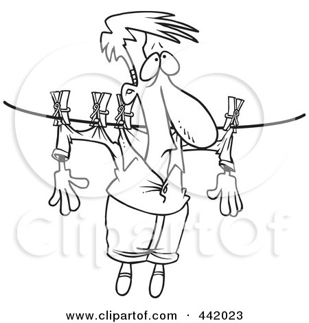 Royalty-Free (RF) Clip Art Illustration of a Cartoon Black And White Outline Design Of A Man Hung Out To Dry On A Clothes Line by toonaday