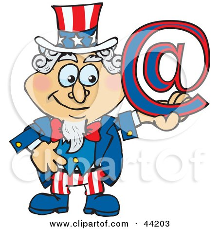 Clipart Illustration of an American Uncle Sam Holding An Arobase At Email Symbol by Dennis Holmes Designs