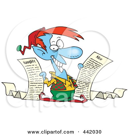 Royalty-Free (RF) Clip Art Illustration of a Cartoon Christmas Elf Holding Naughty And Nice Lists by toonaday
