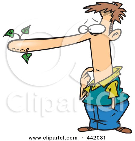 Royalty-Free (RF) Clip Art Illustration of a Cartoon Male Liar With A Long Nose by toonaday