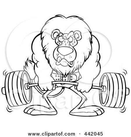 Royalty-Free (RF) Clip Art Illustration of a Cartoon Black And White Outline Design Of A Lion Weightlifting by toonaday