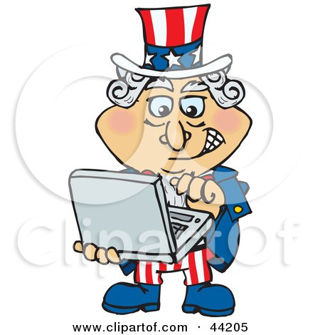 Clipart Illustration of an American Uncle Sam Emailing On A Laptop by Dennis Holmes Designs