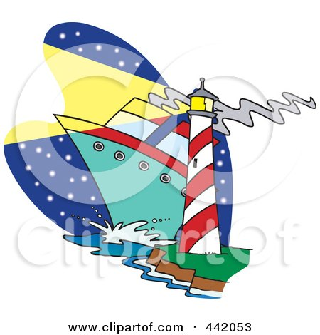 Royalty-Free (RF) Clip Art Illustration of a Cartoon Big Ship Near A Light House by toonaday