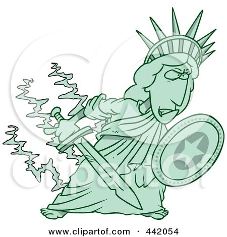 Royalty-Free (RF) Clip Art Illustration of a Cartoon Defensive Statue Of Liberty Holding A Shield And Sword by toonaday