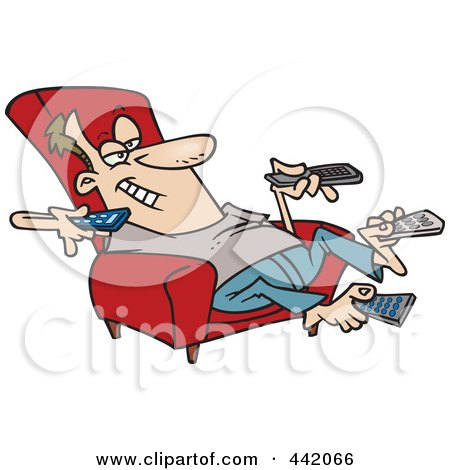 Cartoon Man Sitting In A Recliner And Holding Many Remote Controls Posters, Art Prints