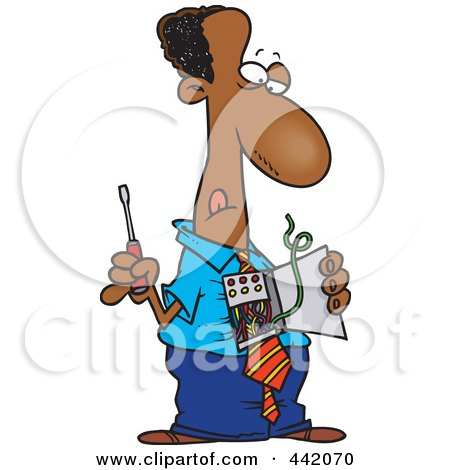 Royalty-Free (RF) Clip Art Illustration of a Cartoon Black Businessman Repairing His Wires by toonaday