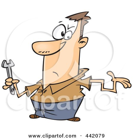 Royalty-Free (RF) Clip Art Illustration of a Cartoon Clueless Repair Man With A Crooked Arm by toonaday