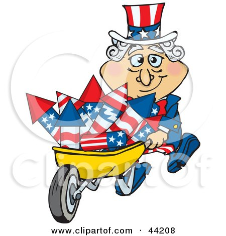 Clipart Illustration of an American Uncle Sam Pushing A Wheelbarrow Full Of Rockets by Dennis Holmes Designs
