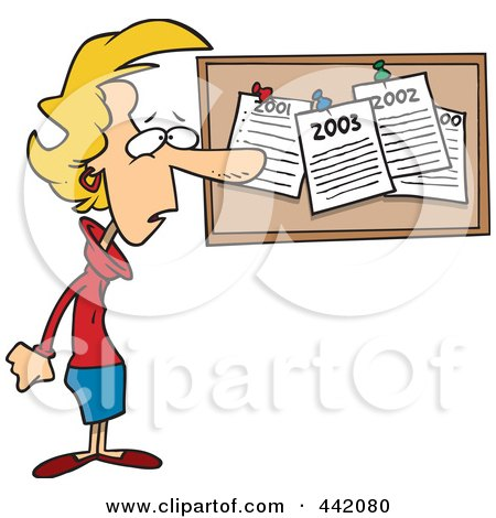 Royalty-Free (RF) Clip Art Illustration of a Cartoon Woman Staring At Her Past New Year Resolutions On A Bulletin by toonaday