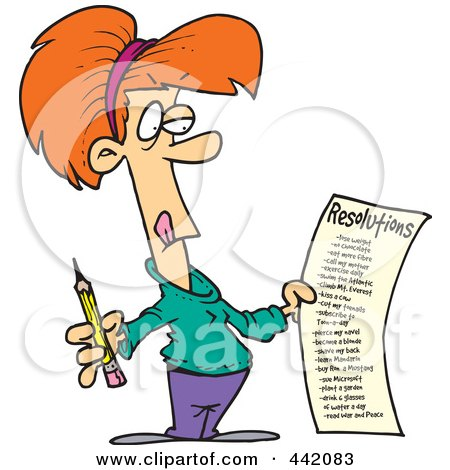 Royalty-Free (RF) Clip Art Illustration of a Cartoon Woman Holding A Long New Year Resolutions List by toonaday