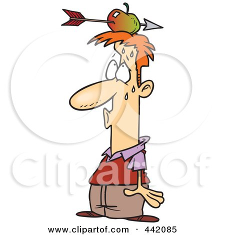 Royalty-Free (RF) Clip Art Illustration of a Cartoon Relieved Man With An Arrow Through An Apple On His Head by toonaday