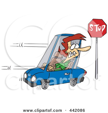 Royalty-Free (RF) Clip Art Illustration of a Cartoon Woman Running A Stop Sign by toonaday