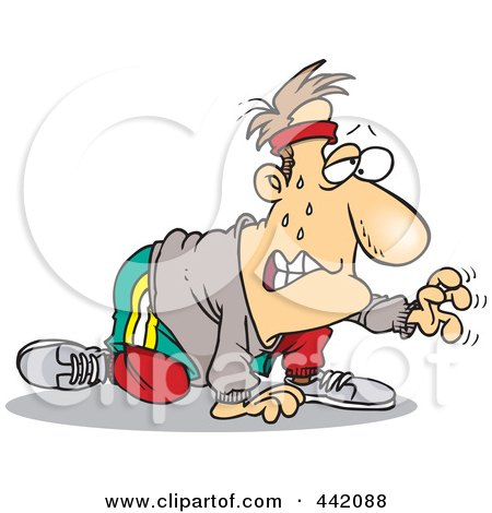 Royalty-Free (RF) Clip Art Illustration of a Cartoon Sweaty Man Exercising For His New Year Resolution by toonaday