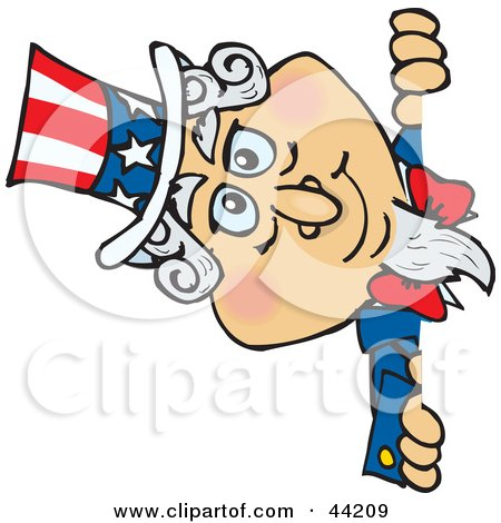 Clipart Illustration of an American Uncle Sam Looking Around A Wall by Dennis Holmes Designs