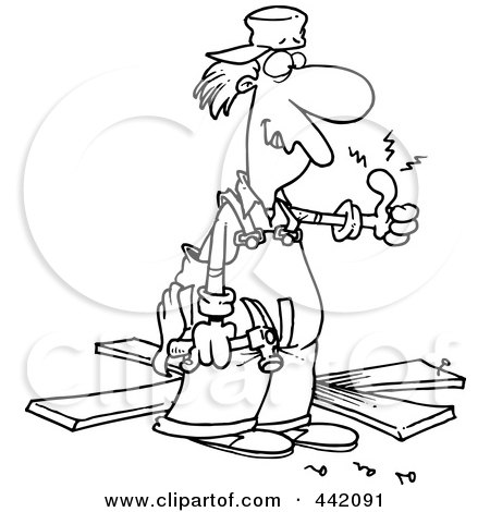 Royalty-Free (RF) Clip Art Illustration of a Cartoon Black And White Outline Design Of A Repair Man With A Throbbing Thumb by toonaday