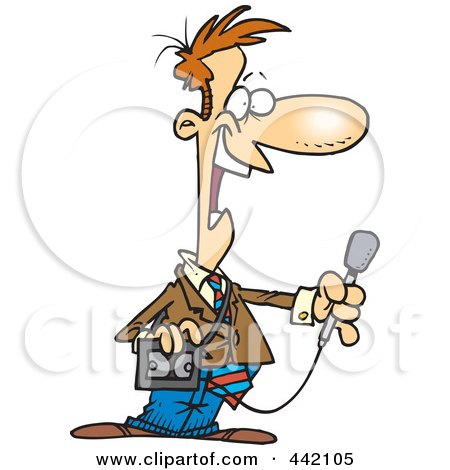 Royalty-Free (RF) Clip Art Illustration of a Cartoon News Reporter Holding A Microphone by toonaday