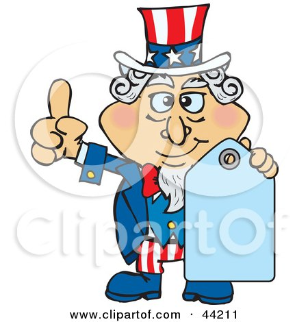 Clipart Illustration of an American Uncle Sam Holding A Blank Blue Price Tag by Dennis Holmes Designs