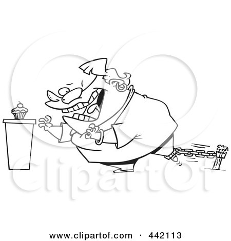 Royalty-Free (RF) Clip Art Illustration of a Cartoon Black And White Outline Design Of A Restrained Woman Reaching For A Cupcake by toonaday
