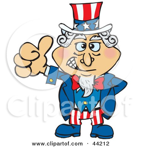 Clipart Illustration of an American Uncle Sam Giving The Thumbs Up by Dennis Holmes Designs