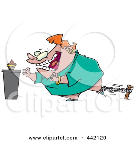 Royalty-Free (RF) Clip Art Illustration of a Cartoon Restrained Woman Reaching For A Cupcake by toonaday
