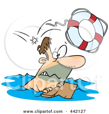Royalty-Free (RF) Clip Art Illustration of a Cartoon Overboard Man Floating On Wood by toonaday
