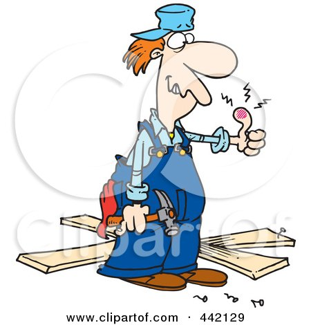 Royalty-Free (RF) Clip Art Illustration of a Cartoon Repair Man With A Throbbing Thumb by toonaday