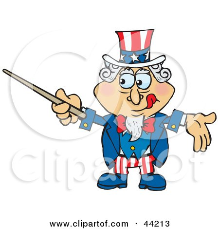 Clipart Illustration of an American Uncle Sam Using A Pointer Stick by Dennis Holmes Designs