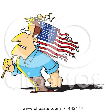 Royalty-Free (RF) Clip Art Illustration of a Cartoon Strong Man Holding A Battered American Flag by toonaday