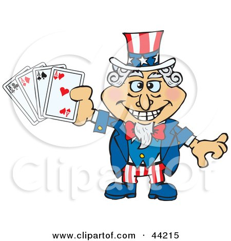 Clipart Illustration of an American Uncle Sam Holding Playing Cards by Dennis Holmes Designs