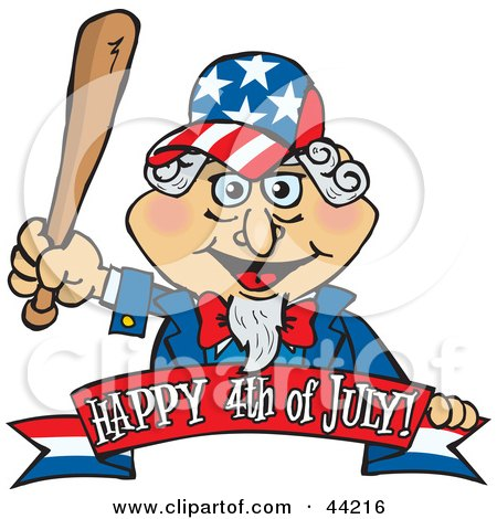 Clipart Illustration of an American Uncle Sam Holding A Wooden Baseball Bat by Dennis Holmes Designs