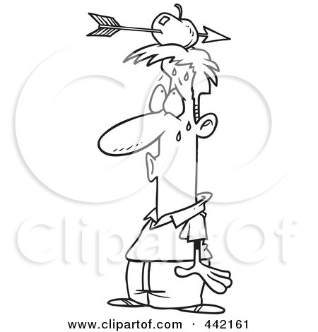 Royalty-Free (RF) Clip Art Illustration of a Cartoon Black And White Outline Design Of A Relieved Man With An Arrow Through An Apple On His Head by toonaday