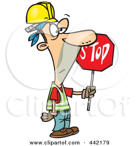 Royalty-Free (RF) Clip Art Illustration of a Cartoon Construction Guy Holding A Stop Sign by toonaday