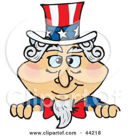 Clipart Illustration of an American Uncle Sam Looking Over A Wall by Dennis Holmes Designs