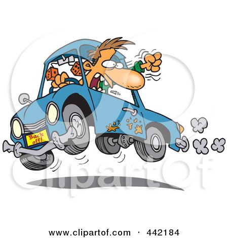 Royalty-Free (RF) Clip Art Illustration of a Cartoon Male Driver With Road Rage by toonaday