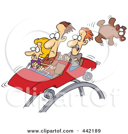 Royalty-Free (RF) Clip Art Illustration of a Cartoon Scared People On A Roller Coaster by toonaday