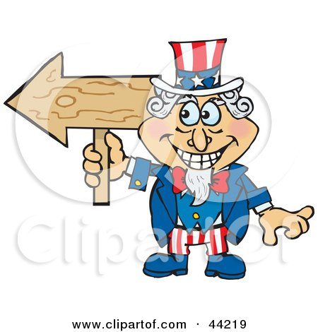 Clipart Illustration of an American Uncle Sam Holding A Blank Wood Arrow Sign by Dennis Holmes Designs