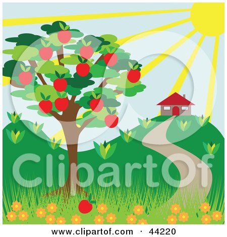 Clipart Illustration of a The Sun Shining Down On A House Near An Apple Tree In Summer by kaycee