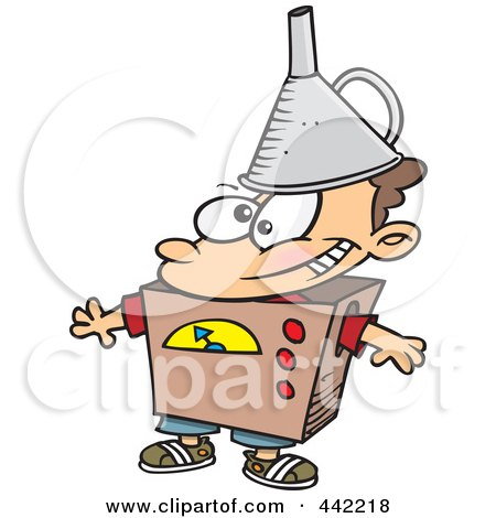 Royalty-Free (RF) Clip Art Illustration of a Cartoon Kid Dressed As A Robot by toonaday