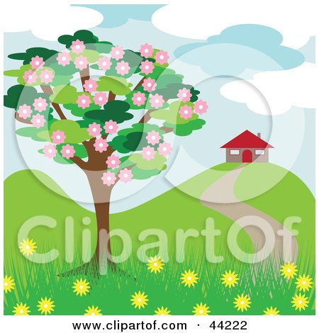 Blossoming Tree Near A House In The Spring Posters, Art Prints