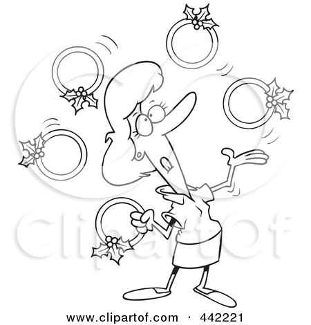 Royalty-Free (RF) Clip Art Illustration of a Cartoon Black And White Outline Design Of A Christmas Woman Juggling Five Golden Rings by toonaday