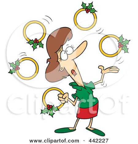 Royalty-Free (RF) Clip Art Illustration of a Cartoon Christmas Woman Juggling Five Golden Rings by toonaday