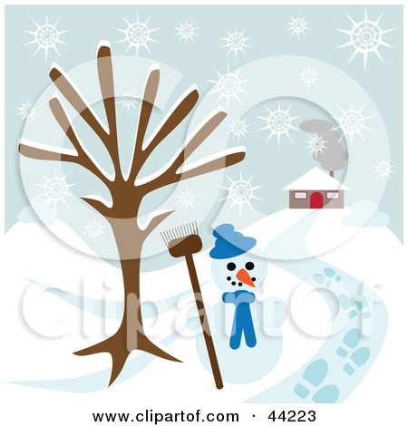 Snowman Under A Bare Tree Near A Home On A Snowy Winter Day Posters, Art Prints