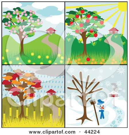 Clipart Illustration of a Collage Of Four Seasonal Tree Scenes With Homes And Different Weather by kaycee