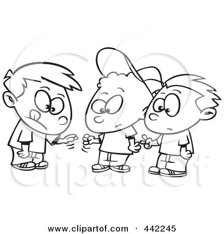 cartoon black and white outline design of a group of boys playing rock paper scissors