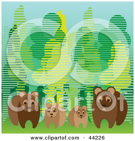 Clipart Illustration of a Family Of Four Wild Bears At The Edge Of A Forest by kaycee